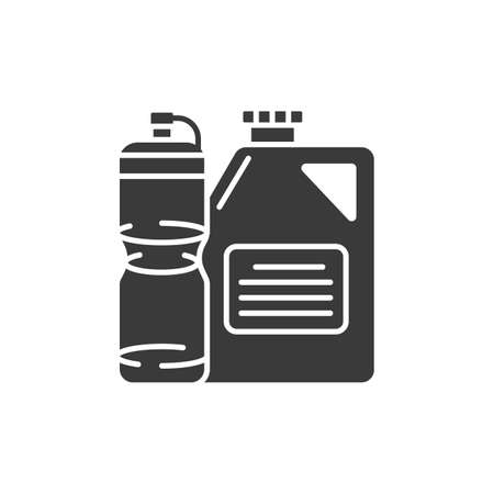Plastic recyclable black glyph icon. Waste recycling. Garbage sorting. Eco friendly. Sign for web page, app. UI UX GUI design element