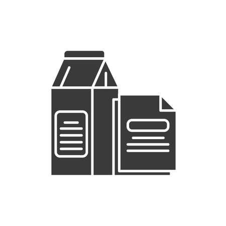 Paper recyclable black glyph icon. Cardboard packaging and sheets of paper. Waste recycling. Garbage sorting. Eco friendly. Sign for web page. UI UX GUI design element