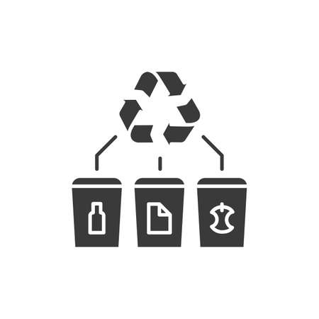 Waste recycling glyph black icon. Zero waste lifestyle. Garbage sorting: paper, glass, food. Eco friendly. Environmental protection. Sign for web page, app. UI UX GUI design element