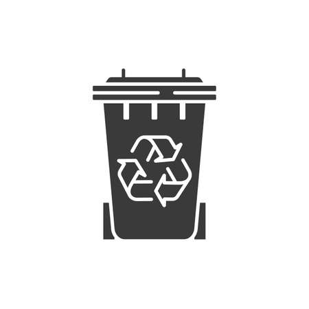 Waste recycling glyph black icon. Zero waste lifestyle. Environmental protection. Sign for web page, app. UI UX GUI design element