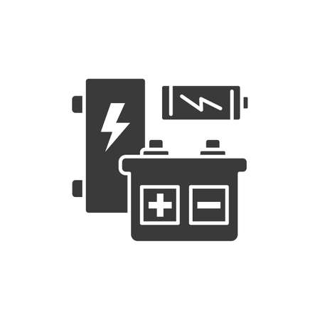 Recyclable batteries glyph black icon. Varieties of chargers. Waste recycling. Garbage sorting. Eco friendly. Sign for web page, app. UI UX GUI design element Ilustrace