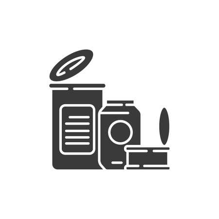 Tin cans recyclable metal black glyph icon. Waste recycling. Garbage sorting. Zero waste lifestyle. Eco friendly. Sign for web page, app. UI UX GUI design element Ilustrace