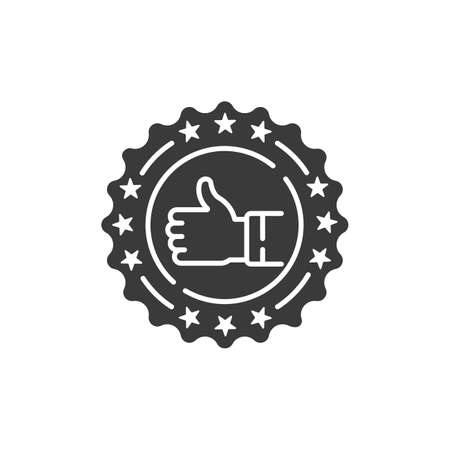 Approved stamp black glyph icon. Successful check concept. Certified, validation element. Sign for web page, mobile app. Vector isolated object. Illusztráció