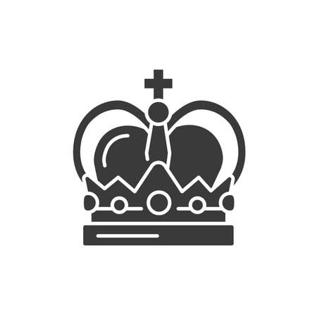 Crown black glyph icon. Premium membership. Greeting, party, festival, event. Sign for web page, mobile app, button, Vector isolated button