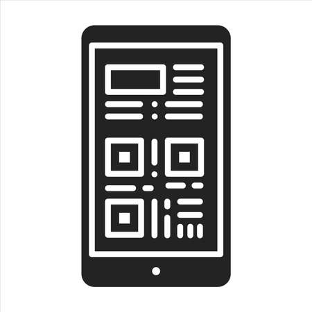 Boarding pass in smartphone black glyph icon. Screenshot or link of a ticket in a device.