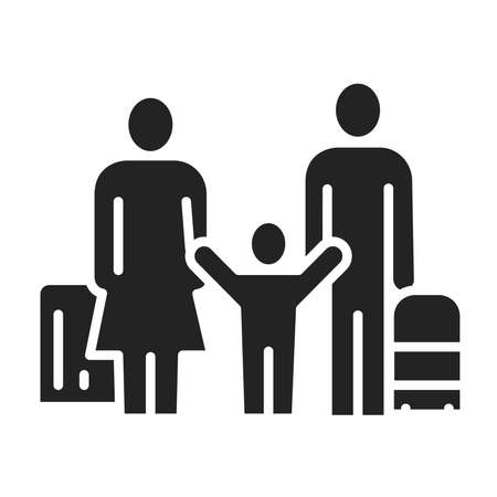 Family travel black glyph icon. Father, mother and kid with luggage at the airport. Ilustração