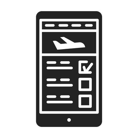 Flight booking in smartphone black glyph icon. Reservation of places in a plane in a device.