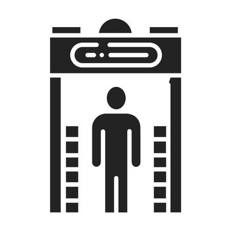 Metal detector black glyph icon. Electronic machine. Detects the presence of metal nearby. Pictogram for web page, mobile app, promo. UI UX GUI design element