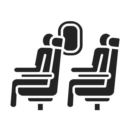 Passengers are sitting in the seats on the plane black glyph icon. Airplane economy class interior. Pictogram for web page, mobile app, promo. UI UX GUI design element