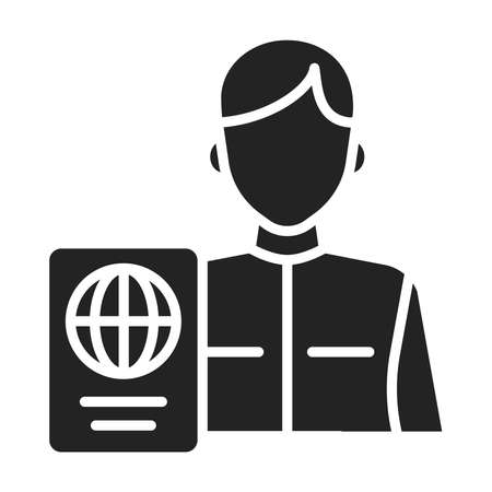Passport control black glyph icon. Area in an airport where passports are checked. Illustration