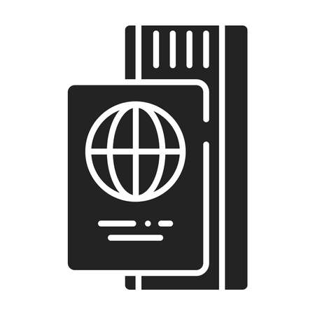 Passport with ticket black glyph icon. Travel document with a boarding pass.