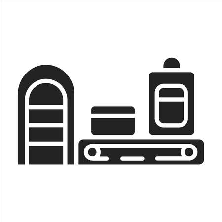 Airport conveyor belt black glyph icon. Machine built from rubber.
