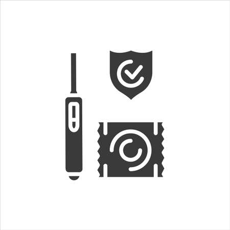 Pregnancy test and condom black glyph icon. Pharmaceutical product. Birth control. Safety sex sign. Pictogram for web page, mobile app. UI UX GUI design element