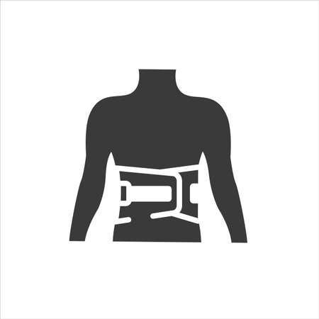 Bandage belt for a back glyph black icon. Medical support for the lumbar after injuries and sprains. Bandage to relieve pain. Posture Corrector. Sign for web page, mobile app. Vector isolated button