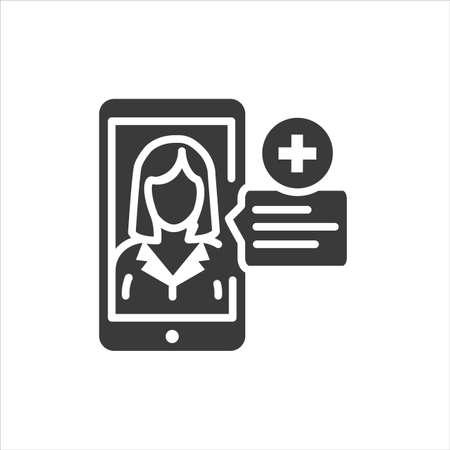 Online health consultation via smartphone glyph black icon. Medical clinic communication with patient. Mobile app. Pictogram for web, mobile app, promo. UI UX design element Ilustração