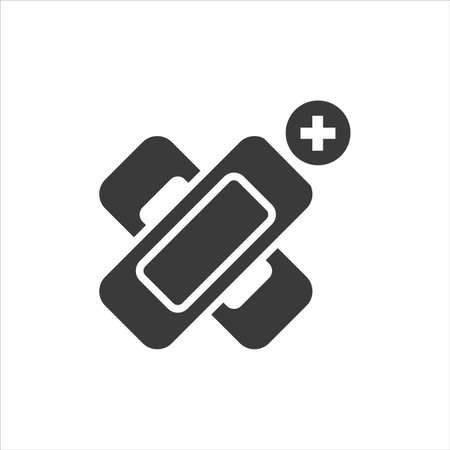 Elastic medical plaster glyph black icon. Adhesive bandage concept. Sign for web page, mobile app, button, logo. Vector isolated sign Ilustração