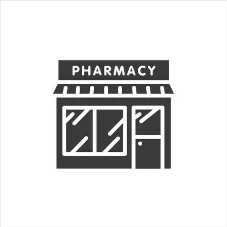 Pharmacy front black glyph icon. Drug store. Sign for web page, mobile app, banner, social media. Pictogram UI UX user interface. Vector clipart