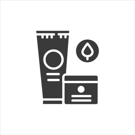 Medical ointment black glyph icon. Gel for the treatment of joint pain and anti-inflammatory sign. Herbal product. Pictogram for web page, app. UI UX GUI design element. Ilustração