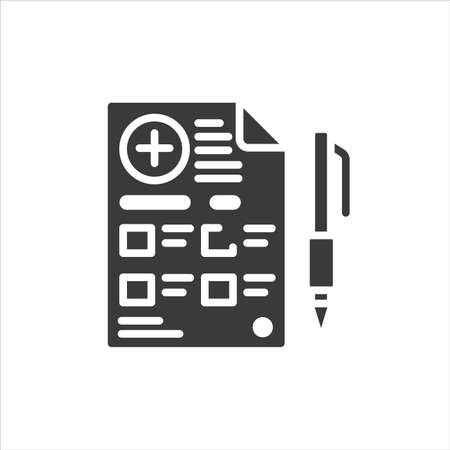 Prescription glyph black icon. Drug list for shopping. Pictogram for web, mobile app, promo. UI UX design element