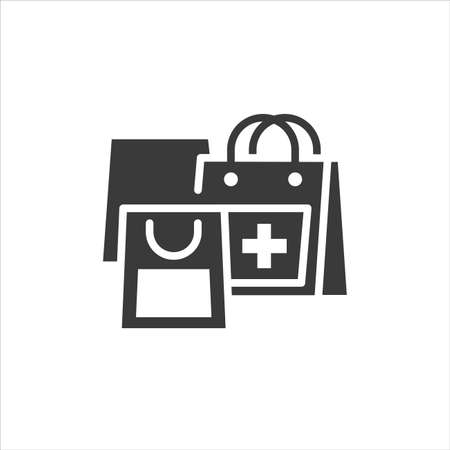 Medication purchase glyph black icon. Sign for web page, mobile app, button, logo. Vector isolated template Ilustração