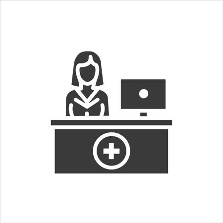 Pharmacy counter with pharmacist glyph black icon. Nursing service concept. Hospital sign. Pictogram for web, mobile app, promo. UI UX design template.