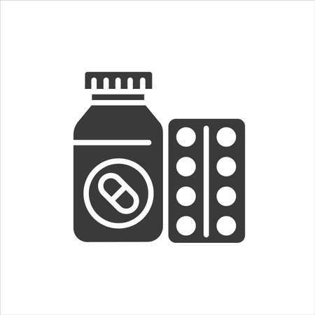 Pill bottle and blister black glyph icon. Pharmaceutical product. Health care symbol. Pictogram for web page, mobile app. UI UX GUI design element Ilustração