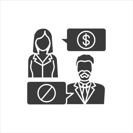 Refusal of a bribe glyph black icon. Business bribery and kickback corruption concept. Sign for web page, mobile app, button. Vector isolated button.
