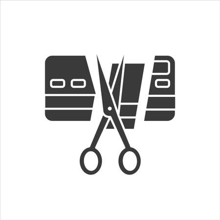 Bankruptcy black glyph icon. Credit ard ut. Business process in financial crisis. Social problem. Sign for web page, mobile app, banner, social media.