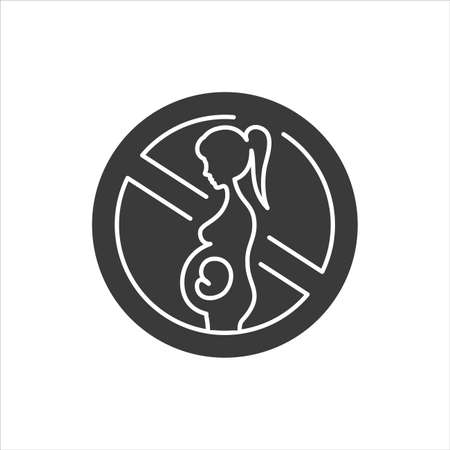 Abortion black glyph icon. Fetal death, miscarriage concept. Women's health problems infertility. Sign for web page, mobile app, banner, social media.