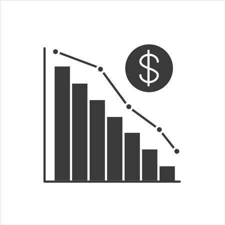 Economic problems black glyph icon. Bankruptcy. Sinking business process in financial crisis. Economic loan payback problem and investment failure and budget collapse. Sign for web page, mobile app. Ilustração