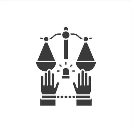 Crime glyph black icon. Convicted man in handcuffs concept. Social problem. Sign for web page, mobile app, button. Vector isolated button. Ilustração