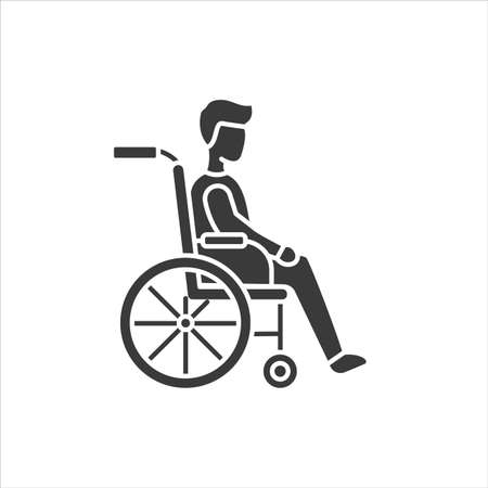 Disability glyph black icon. Man in manual wheelchair. People with disabilities or physical disorders Sign for web page and mobile app, Vector isolated button. Ilustração