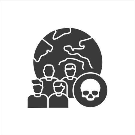 Mortality black glyph icon. Social problem concept. Sign for web page, mobile app, banner, social media.