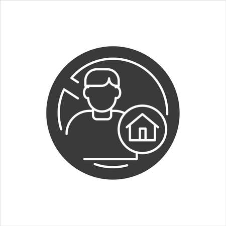 Homeless black glyph icon. Social problem concept. Sign for web page, mobile app, banner, social media