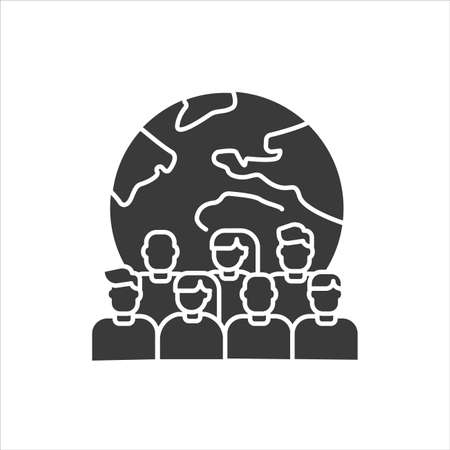 Overpopulation planet black glyph icon. Social problem concept. Sign for web page, mobile app, banner, social media.