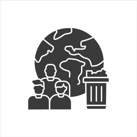 Planet pollution black glyph icon. Social and ecology problem concept. Sign for web page, mobile app, banner, social media Ilustração