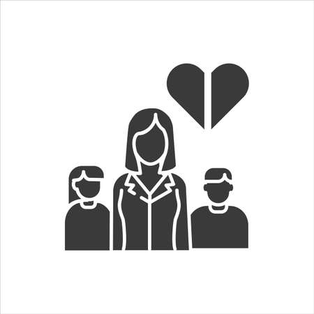 Single mother black glyph icon. Inferior family. Social problem concept. Mom with childrens. Sign for web page, mobile app, banner, social media.