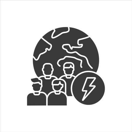 Social problem black glyph icon. Discrimination, conflicts, crime. Sign for web page, mobile app, banner, social media. Ilustração