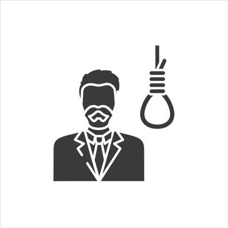 Suicide black glyph icon. Mental disorder. Social problem, mortality concept. Sign for web page, mobile app, banner, social media. Ilustração