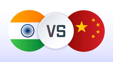 India vs China flags flat vector illustration. Tariff trade, relations, cooperation strategy. Concept for web page, banner, presentation, social media, ad, promo, news Ilustração
