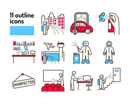 Mass disinfection color line icon. Cleaning service. Worker in protective suit with disinfector sprayer. Pictograms for web, mobile app, promo. UI UX design element. Ilustração
