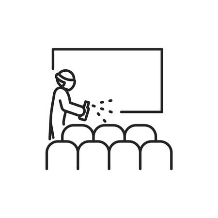 Cinema hall disinfection black line icon. Cleaning service. Worker in protective suit with disinfector sprayer. Pictogram for web, mobile app, promo. UI UX design element.