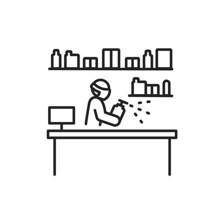 Shop disinfection black line icon. Cleaning service. Worker in protective suit with disinfector sprayer. Pictogram for web, mobile app, promo. UI UX design element Ilustração