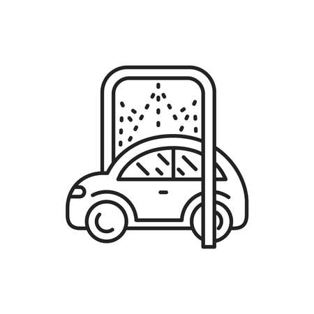 Car disinfection black line icon. Automatic car wash. Pictogram for web, mobile app, promo. UI UX design element.