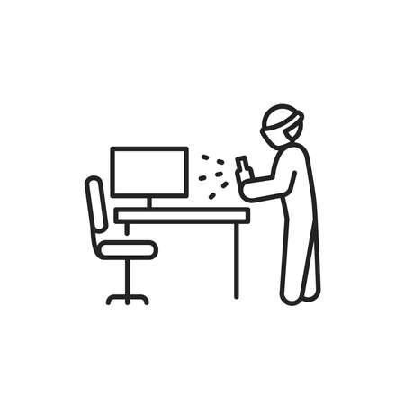 Office disinfection black line icon. Cleaning service. Pictogram for web, mobile app, promo. UI UX design element Ilustração