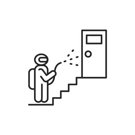 Residential building porch disinfection black line icon. Worker in protective suit with disinfector sprayer. Cleaning service. Pictogram for web, mobile app, promo. UI UX design element.