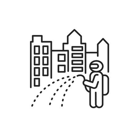 Town disinfection black line icon. Cleaning service. Worker in protective suit with disinfector sprayer. Pictogram for web, mobile app, promo. UI UX design element.