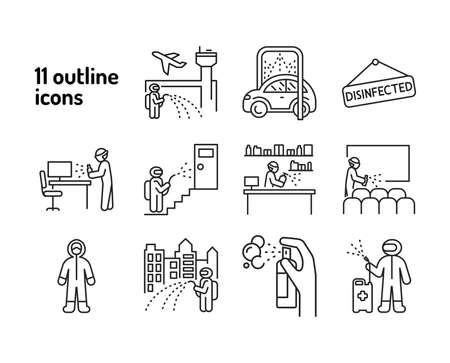 Mass disinfection black line icon. Cleaning service. Worker in protective suit with disinfector sprayer. Pictograms for web, mobile app, promo. UI UX design element. Ilustração
