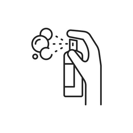 Antiseptic product black line icon. Pictogram for web page, mobile app, promo. UI UX GUI design element. Editable stroke. Ilustração
