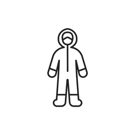 Worker in protective suit black line icon. Protect from viruses. Cleaning service. Pictogram for web, mobile app, promo. UI UX design element.